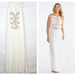Cato Embroidered Ivory Maxi Dress Size Large